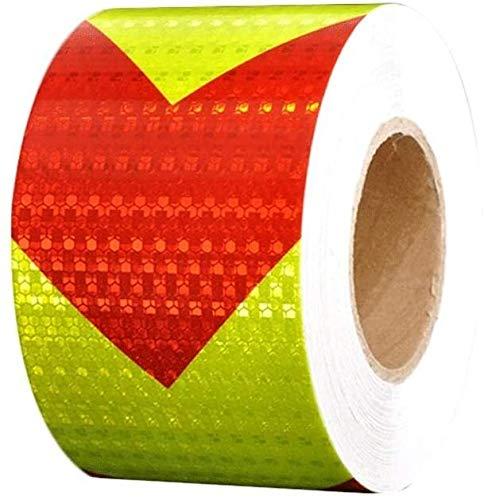 Reflecterende Tape-aisle of lane markering tape hoge intensiteit reflecterende Gevaar waarschuwing tape in het oog springende waarschuwingen Lijm Markering Barrier Tape Auto Verkeer Lichtgevende Pijl Waarschuwingsbord 419 L6m×w10cm Rood Geel