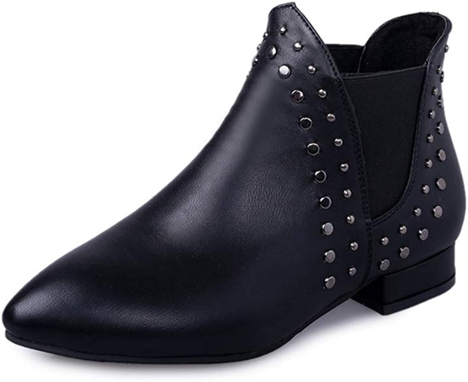 Women's Fashion Rivet Pointed Toe Ankle Boots Comfortable Flat Martin Boots Side Elastic Booties