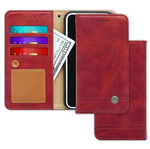 Huawei P9 Plus Case [Free 9 Gifts] Trim LINE Flip Diary Cover with Slim Wallet Design [Octopus Ver.] – Card Holder, Cash Slots, Kickstand, Hand Strap & Message Pad for Huawei P9+ (Burgundy Red)