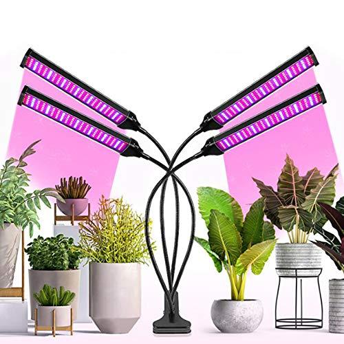 JLDNC Lámpara de Plantas, 40w 4 Cabezales Lámpara LED Cultivo con 3/9/12h Interruptor Temporizador Auto LED Grow Light 3 Modos y 10 Brillo Lámpara de Crecimiento para plántulas,A