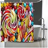 AZYJBF Duschvorhang Süßigkeit Geometrische Polyester Badform Mehltau Beständig Wasserdicht Bad Mit Haken Für Wohnkultur, 180X180 cm
