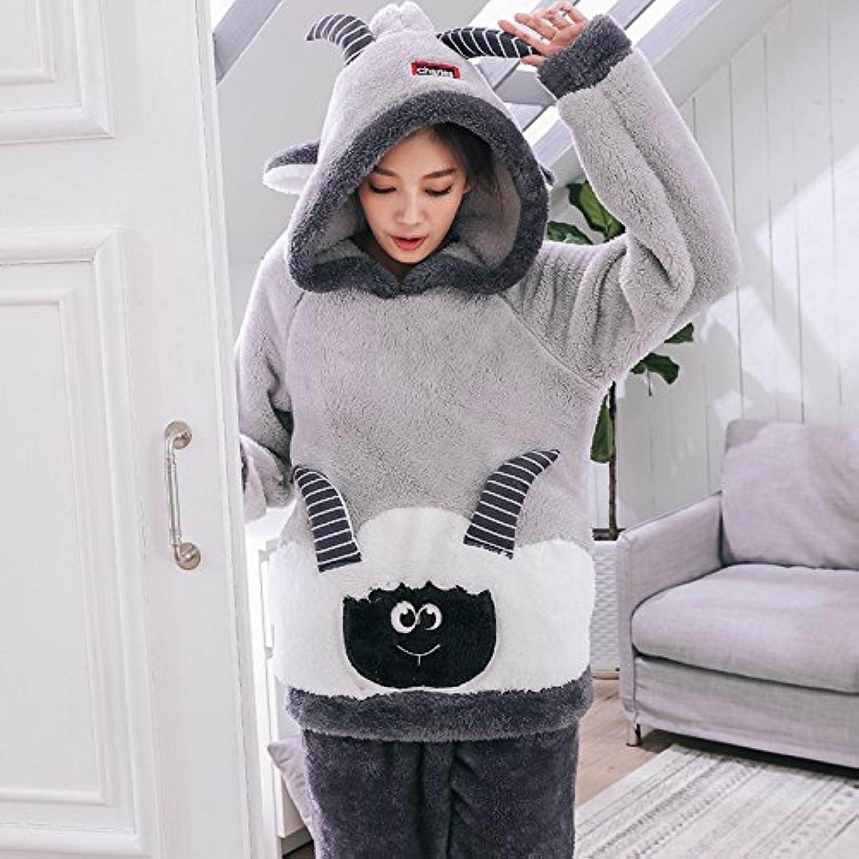 PLLP Autumn and Winter Ladies Pajamas Cute Suede Velvet Home Service