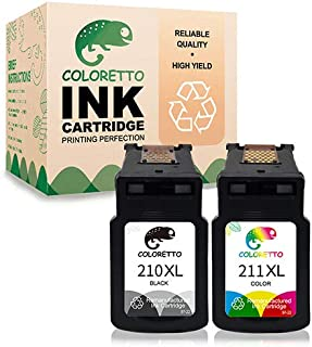 Coloretto Remanufactured Printer Ink Cartridge Replacement for Canon PG-210XL,CL-211XL,211XL for PIXMA MP230 MP240 MP250 MP260 MP270 MP490 MP495 MX320 MX330 MX340 MX35 IP2700 IP2702 (1 Black+1 Color)