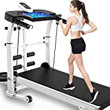 Treadmills Mechanical Treadmill, 4 in 1 Folding Shock Running Supine Easy Assembly with Adjustable Display Panel 3-Level Manual Incline Convenient Tablet Stand for Home Use
