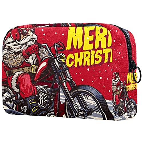 Trousse de Maquillage Organisation Rangement Cosmétique Portable Santa Claus Vélo à vélo Choppermotor pour Les Voyages Plein air