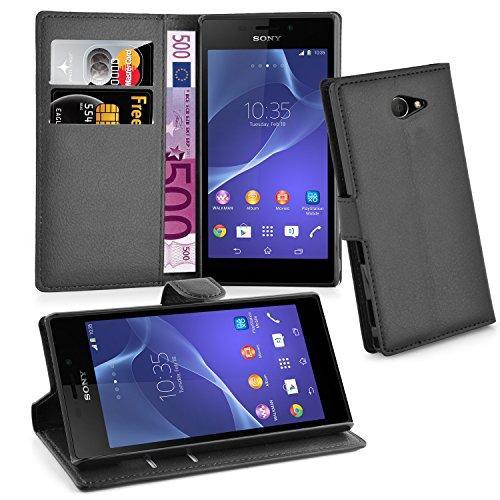 Cadorabo Hülle für Sony Xperia M2 - Hülle in Phantom SCHWARZ – Handyhülle mit Kartenfach und Standfunktion - Case Cover Schutzhülle Etui Tasche Book Klapp Style