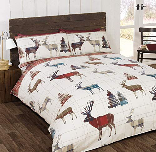 So Soft Flannelette Stag Double Duvet Cover and 2 Pillowcases Bedding Bed Set Brushed Cotton Quilt Cover Red, Red