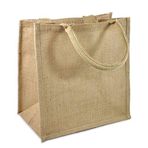 (Pack of 12) Jute/Burlap Tote Bags Soft Cotton Handles Laminated Interior (Medium, Natural)