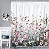 SUMGAR Blumen-Duschvorhang für Badezimmer, bunte Blüten, Polyester-Stoff, waschbar, florales Bauernhaus-Tuch, romantische Wildblumen, dekorative Sommer-Bade-Duschvorhänge-Sets mit Haken, 183 x 198 cm