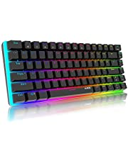 Teclado mecánico Gaming RGB Azul Switch Ajazz AK33 82 Teclas 100% Anti-Ghosting 19 Modos de iluminación RGB para PC/Mac con Windows