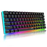 AJAZZ AK33 Tastiera Meccanica Gaming RGB colorati, 82 Tasti 100% Anti-ghosting Switches Blu,Retroilluminazione RGB con 16.8 milioni Tastiera da Gioco per PC,Mac,Nero