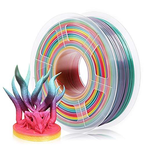 SUNLU Rainbow PLA Filament 1.75mm 3D Printer Rainbow Filament, Multicolor PLA Filament for 3D Printers and 3D Pens,1kg Spool