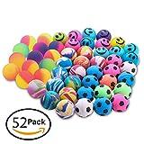 Bemomo 52 Pcs Bouncy Balls 4 Kind 25mm Including Mixed Color Bouncy Ball