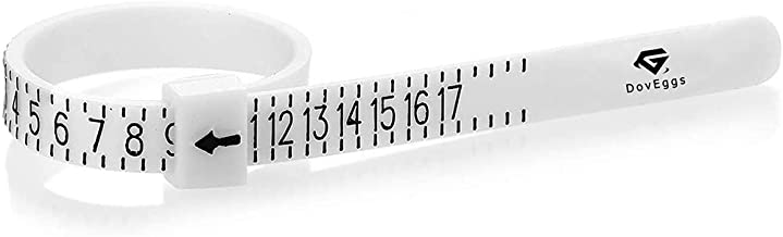 DovEggs Engagement Ring Sizer Finger Measuring Tool Gauge for Men-Women-Kids-Find Check Ring Size 1-17 US