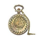 Reloj de bolsillo Jue Vintage Grabado Patrón de mapeo de brújula Romana Classic Flip Grande Reloj de Cuarzo Bronce, Regalo conmemorativo