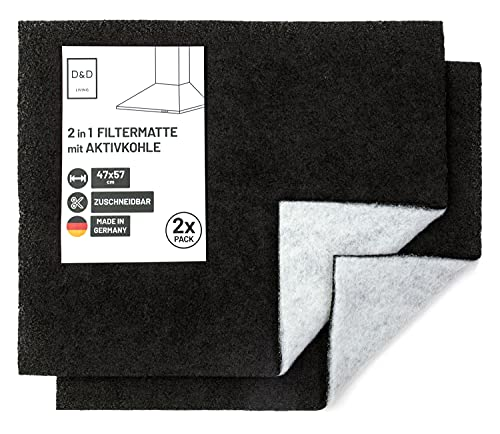 D&D Living® Aktivkohlefilter Dunstabzugshaube | 2er Pack | Filter Matte mit Aktivkohle und Fettfilter | Filtermatte zuschneidbar 57x47 cm