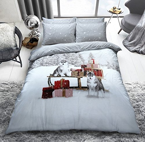 Christmas Duvet Cover Set King Size with Pillowcases Quilt Reversible Printed Poly Cotton, Huskies Room Set