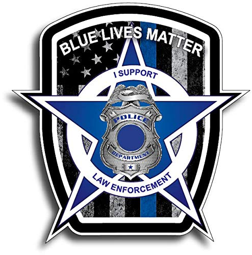 Pack of 10 Thin Blue Line Blue Lives Matter Badge USA Flag Police Car Truck Decal Sticker