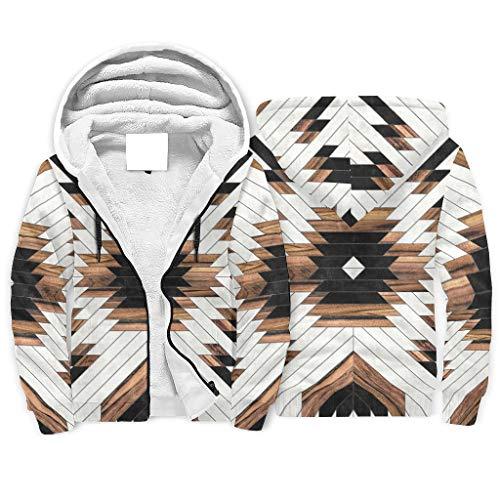 Niersensea Damen Herren Sherpa Kapuzenpullover Jacke Sweatshirts Aztekisches Holz Heavyweight Hoodies Kapuzenpulli Kapuzenjacke mit Kapuze und Reißverschluss White l