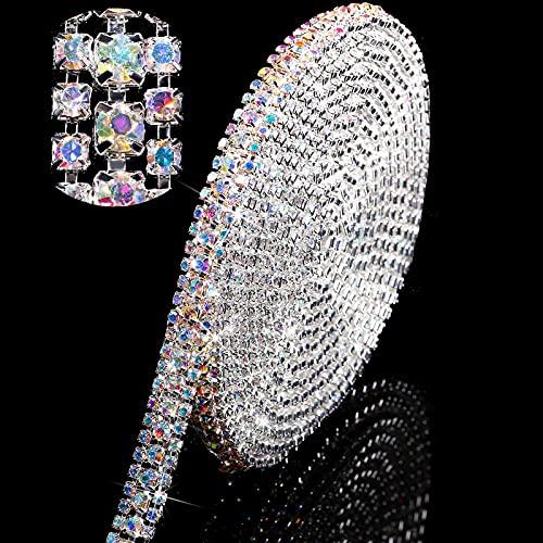 Cadena de Cierre de Diamantes Imitación Cristal Plata de 3 Yardas 3 Filas 3 mm/ 4 mm Cadena de Garra de Recortar Artesanía de Costura para Escarda, DIY, Joyería, Decoración (Color AB)