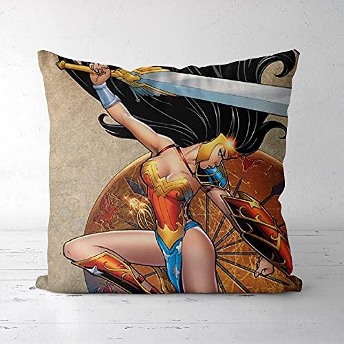 Almohada Impresa Exquisita y cómoda, Lisi Velvet 40x40cm Wonder Woman, Impresión y teñido respetuosos con el Medio Ambiente, Que le brindan Comodidad (Incluidas Las Almohadas)