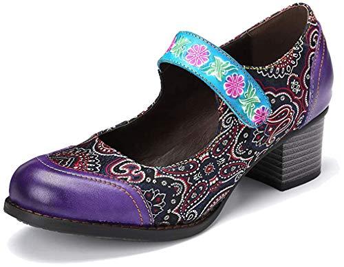 gracosy Mary Jane Pumps Damen, Leder Damenschuhe Slipper Halbschuhe Party Schuhe Klassische Blockabsatz Pumps Vintage Sommer Schuhe