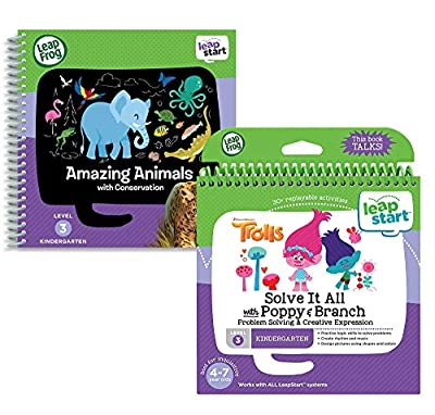 LeapStart Level 3 Kindergarten Activity Book Bundle (Solve It All with Poppy & Branch / Amazing Animals) from V Tech