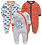 kavkas Baby Boy Footed Jumpsuit Dinosaur One Piece Romper Infant Long Sleeve Pajamas 3 Pack, 100% Cotton, Orange Dinosaur(9-12M)