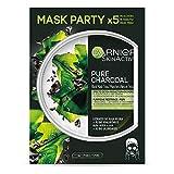 Garnier Skin Active - Black Mask Tissu Pure Charcoal, mascarilla de tejido con carbón y extracto de...