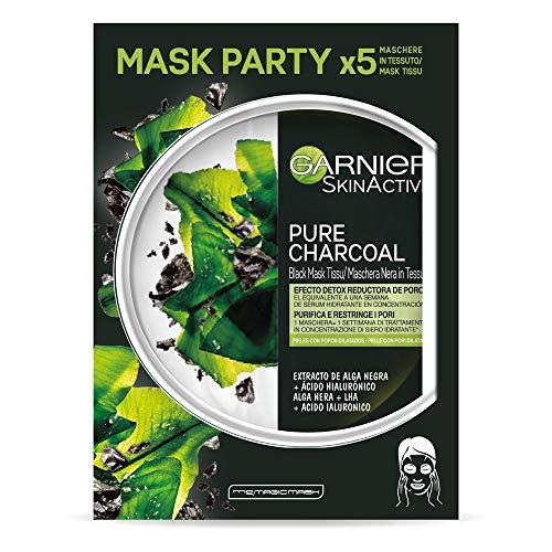 Garnier Skin Active - Black Mask Tissu Pure Charcoal, mascarilla de tejido con carbón y extracto de alga negra para pieles con poros dilatados, 5 unidades