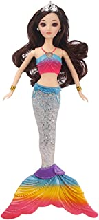 Barbie Mermaid Rainbow Doll with 4 Colorful Lights, Music Playing, Barbie Mermaid Light Up Doll Toys, for Kids (E)