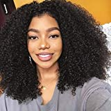 Afro Curly Synthetic Lace Front Wig for Women, Heat Resistant Fiber with Breathable Cap Replacement Wig Swiss, L Shape Right Side Parting Lace Wig, Machine Made Kinky Curly Wigs (18 Inch, 1B)