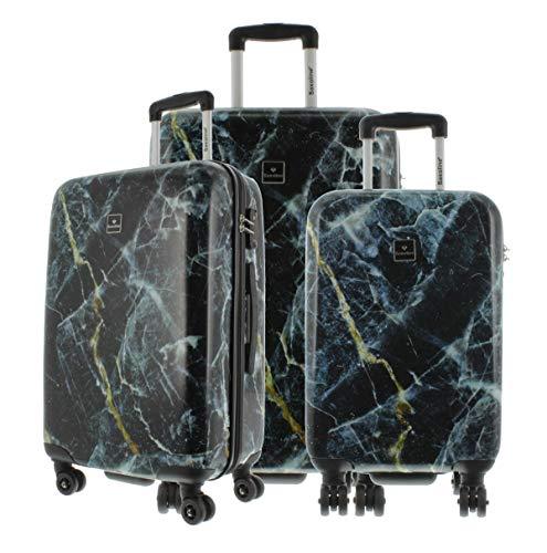 Saxoline Blue Koffer Spinner mit Zahlenschloss, 3er Set Marble