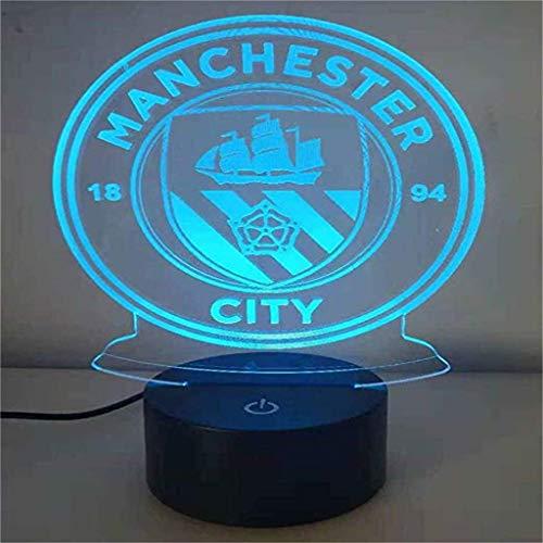 HLHHL-Lamp Lampe éConomiseur D'éNergie à Del City Night 3D / LED De Manchester City, Changement De Couleur 7, Commande Tactile/à Distance, Base Noire, Cadeaux De Chambre DéCoratifs pour Enfants
