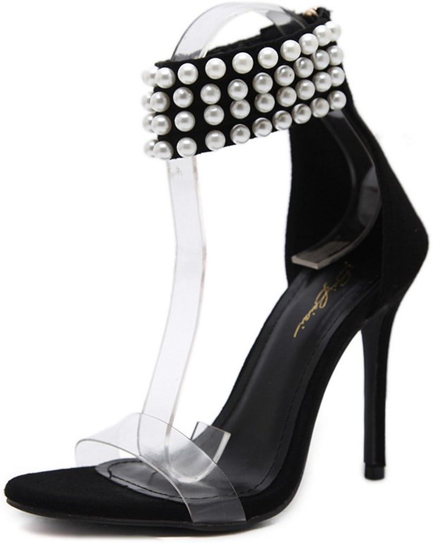 Women High Heel Pumps Peep Toe Pearls Straps Evening Prom Bridal Wedding Sandals