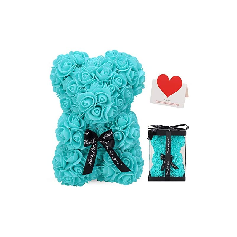 silk flower arrangements linklo rose bear rose teddy bear -10 inch artificial rose flower bear, gift for valentines day, wedding, mothers day and anniversary, including transparent gift box (t blue)