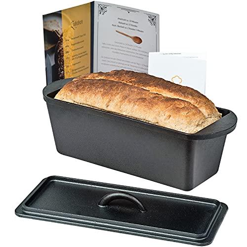 Chefarone Gusseisen Brotbackform mit Deckel - Backform für Brot und Kuchen inklusive Anleitung zum Einbrennen - Kastenform Backen Braten rechteckig - Gusseisen Topf Brot backen - 35 x 13,5 x 12,5 cm