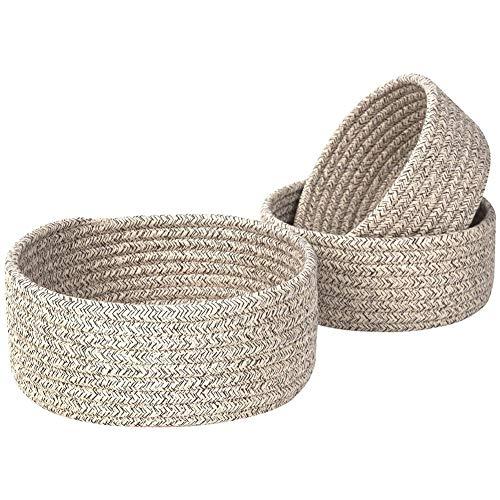 Camisin Cuencos de cuerda de algodón tejidos, cestas de armario y cubos para estantes organizadores de mesa, cestas de almacenamiento, 3 unidades