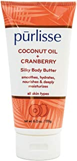 purlisse Coconut Oil + Cranberry Silky Body Butter – Natural Moisturizer Cream for All Skin Types – Applying Treatment Deeply Hydrates, Nourishes & Moisturizes Skin, 6 Oz