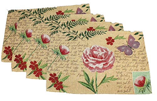 Twisted Anchor Trading Co Set of 4 Yellow Butterfly Placemats - Tapestry Style Design with Butterfly and Rose Floral Placemats Gift Set - Comes in an Organza Bag so It's Ready for Giving!