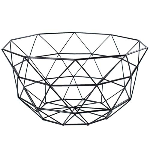 Pimuza Fruit Stand Vegetables Serving Bowl Basket Holder for Kitchen Counter,Table Centerpiece,Fiesta,Metal Iron Wire,Wedding,Living Room,Large Round Modern Stylish Tray Storage for Banana,Bread,Black