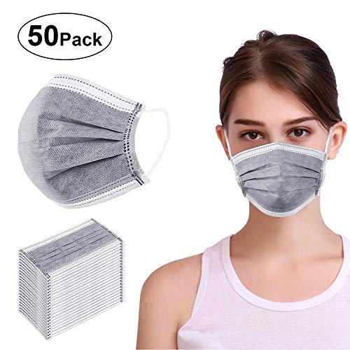 VIPITH, maschere usa e getta in garza traspirante, con elastico per le orecchie e 4 strati di protezione, adatte per saloni, vernice, detergenti, confezionate singolarmente, 50 confezioni (grigio)