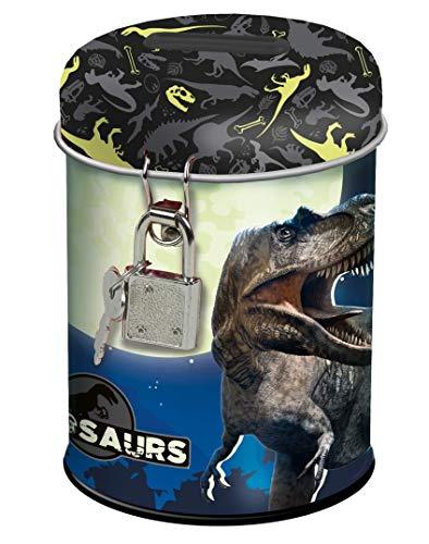Theonoi Kinder - Spardose Sparbuchse Schatzkiste Sparschwein Dose Box aus Metall Geschenk für Jungen Dinosaurier Dino