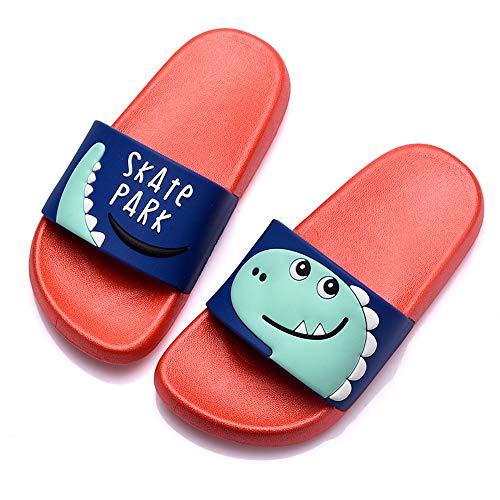 Chanclas de Playa Zapatos de Piscina para Niña Niño Sandalias Verano Antideslizante Zapatillas de Baño Casa Hombre Mujer Rojo 27/28EU=28/29