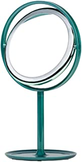 Desktop Creative Folding Makeup Mirror with Light Round led Makeup Mirror lamp Rotating Rechargeable Makeup Mirror 360° Mirror Adjustment Product Size: 219 * 175 * 389mm (Color : Green)