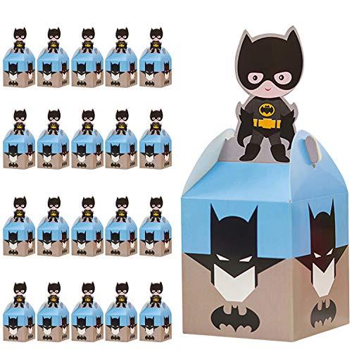 Qemsele Party-Schachteln Partytüten 20 Stück, Kinder Mitgebsel Kindergeburtstag Gastgeschenke Tüten Tasche, Kordelzug Rucksack Bag Turnbeutel für Mädchen Kostümparty, Geburtstagsfeier (Batman)