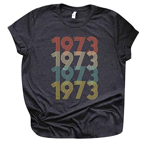 Camiseta de mujer año 1971 sudadera casual cuello redondo tops para adolescentes niña básica camiseta manga corta Tops elegante blusa A3~gris oscuro S