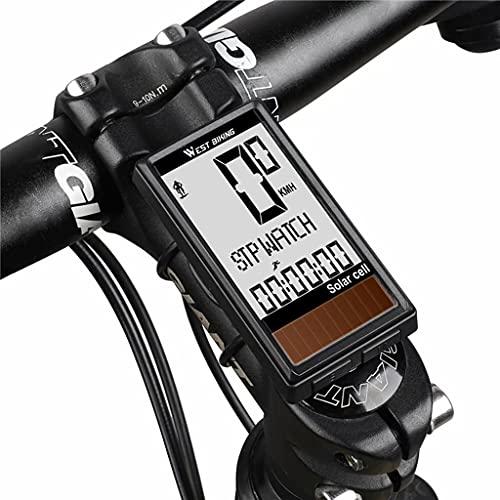 YZX Cuentakilómetros Bicicleta, medidor de Velocidad de Ciclismo inalámbrico Solar Multifuncional, velocímetro...