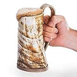 "Norse Tradesman Original Viking Drinking Horn Mug - 100% Authentic Beer Horn Tankard w/Natural Surface & Burlap Gift Sack   ""The Original"", Unpolished, XX-Large"