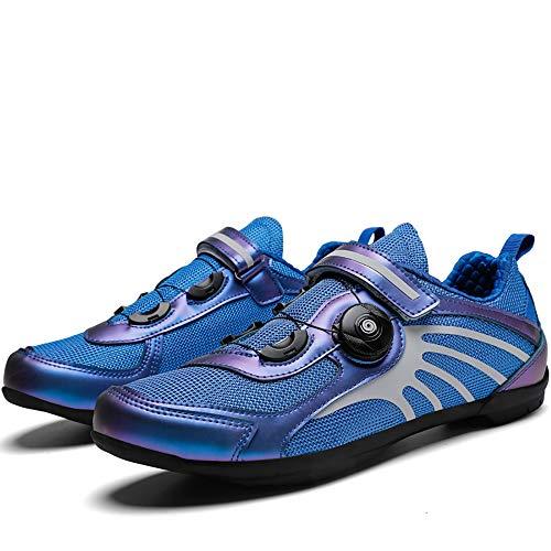 Road Cycling Shoes Men's Bicycle Shoes Lightweight Wear Resistant Bike Footwear Road Bike Shoes Mountain Bike Shoe,Professional Non-Locking Cycling Shoes Hard Sole Non-Locking Blue-44